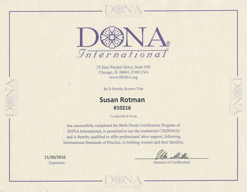 Susan Rotman: Certified Birth Doula